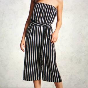 Forever 21 Strapless Stripe Jumpsuit